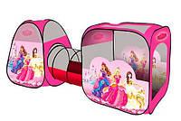 """Палатка детская игровая М 2960, """"Принцессы"""", 2 домика с переходом-тоннелем, 270*92*92 см, 2 входа, окна-сетки"""