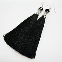 Серьги-кисти черные, шелк [12 см], фото 1