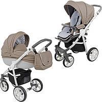 Детская коляска универсальная 2 в 1 Bass Carbon white capuchino white/gray Roan