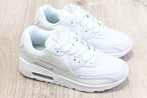 Женские кроссовки Nike Air Max 90 Leather белые топ реплика, фото 2