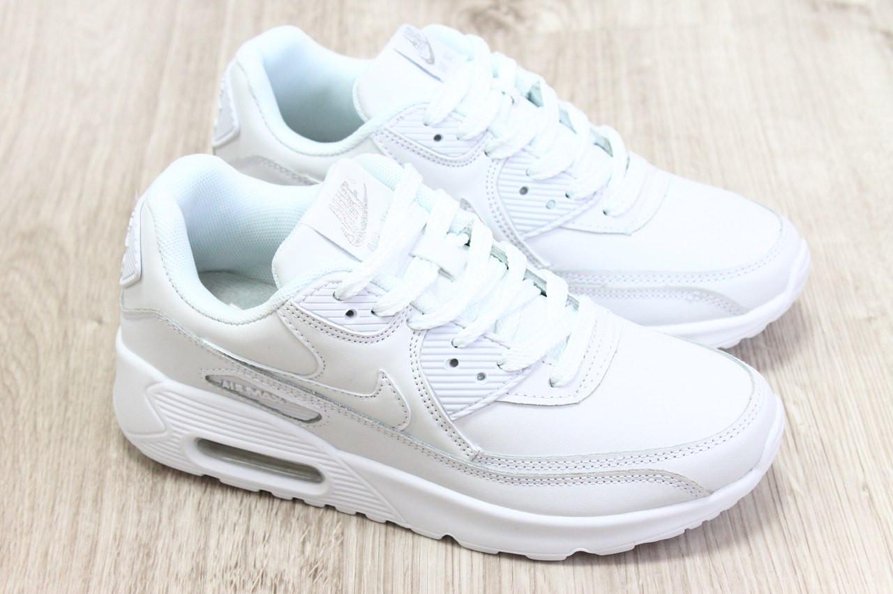 Женские кроссовки Nike Air Max 90 Leather белые топ реплика -  Интернет-магазин обуви и e2e756211f2