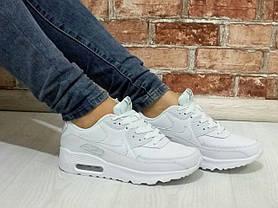 Женские кроссовки Nike Air Max 90 Leather белые топ реплика, фото 3