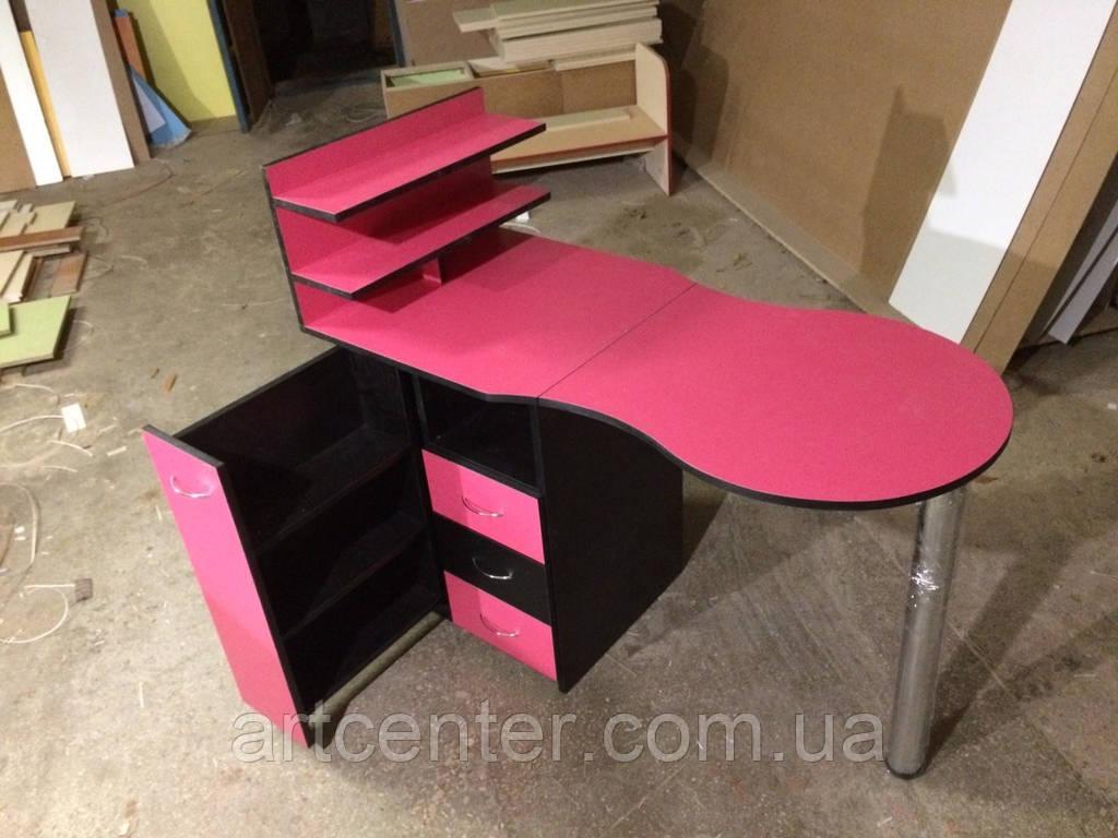 """Розовый маникюрный стол с ящиком """"карго"""", выдвижными ящиками и полочкой для лаков"""