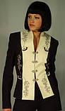 Жакет чёрно-молочный с вышивкой по рельефу Арт.543 р.36,40, фото 2