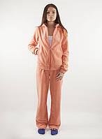 Теплый женский зимний флисовый спортивный костюм персикового цвета