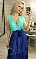 Платье 183 верх мята, низ электрик.