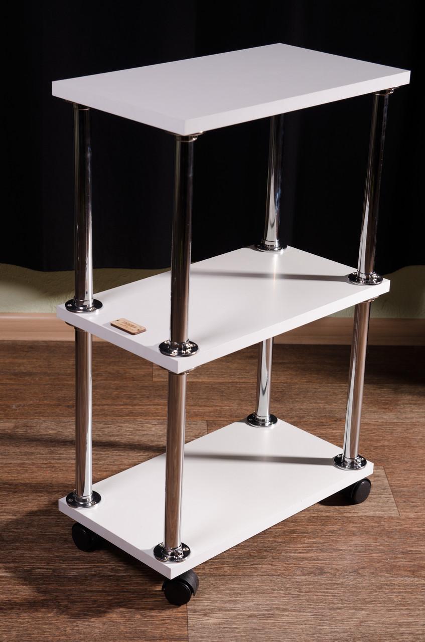 Косметологическая тележка, этажерка, на колесиках, белая