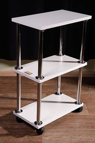 Косметологическая тележка, этажерка, на колесиках, белая, фото 2