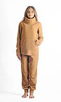 Теплый женский флисовый спортивный костюм бежевого цвета
