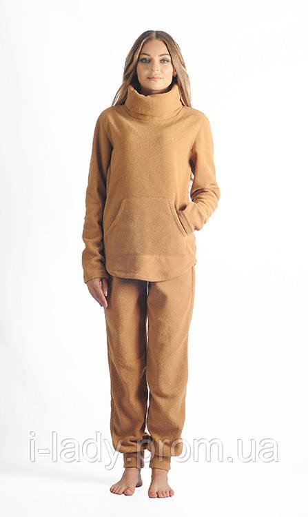 Теплый женский флисовый спортивный костюм бежевого цвета - Интернет магазин  женской одежды a4b8fd5af58fb