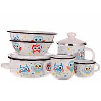 Набор детской эмалированной посуды Epos Совы 163