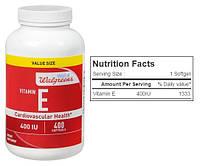 Walgreens, Витамин Е, 400 МЕ, 400 капсул