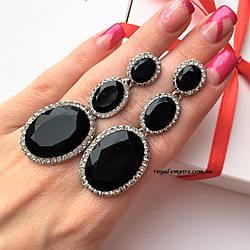 """Нарядные серьги """"Одри"""" черные, в красивой упаковке."""