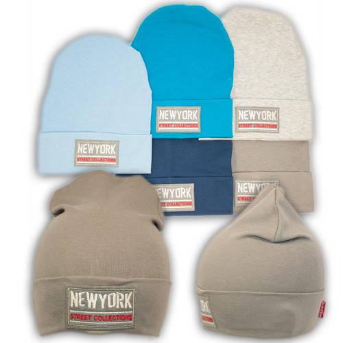 Трикотажные шапки детские с нашивкой New York, Y85