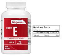 Walgreens, Витамин Е, 1000 МЕ, 90 капсул
