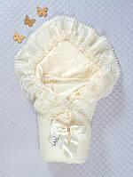 Нарядный конверт-одеяло на выписку с кружевом Мария