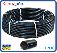 Труба полиэтиленовая черная с синей полосой питьевая D25*2,3 PN10