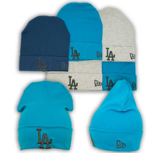 Трикотажные шапки детские с вышивкой LA, Y86