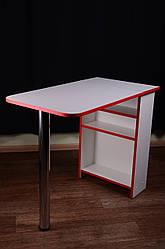 Стіл для манікюру, розкладний, білий з червоною крайкою