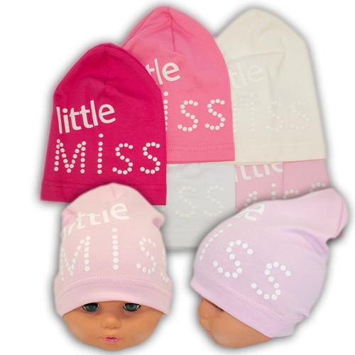 ОПТ Трикотажные шапки детские с принтом Little Miss, Y92M (5шт/упаковка)