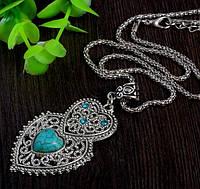 Подвеска Античное сердце/бижутерия/ цвет серебро