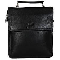 Мужская кожаная сумка из плотной кожи черная с ручкой