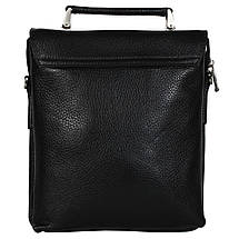 Мужская кожаная сумка из плотной кожи черная с ручкой (Италия) Lare Boss LB009923-41, фото 2