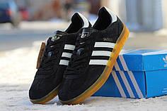 Кроссовки мужские Adidas Gazelle Indoor черно-белые топ реплика