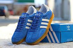 Мужские кроссовки Adidas Gazelle Indoor ярко-голубые топ реплика