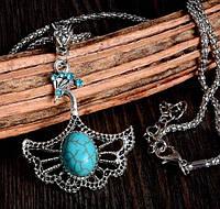 Подвеска Античный павлин крылья/бижутерия/ цвет серебро