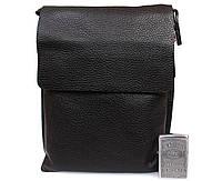 Универсальная мужская кожаная сумка-планшетка через плечо черная ALVI av-4-8721