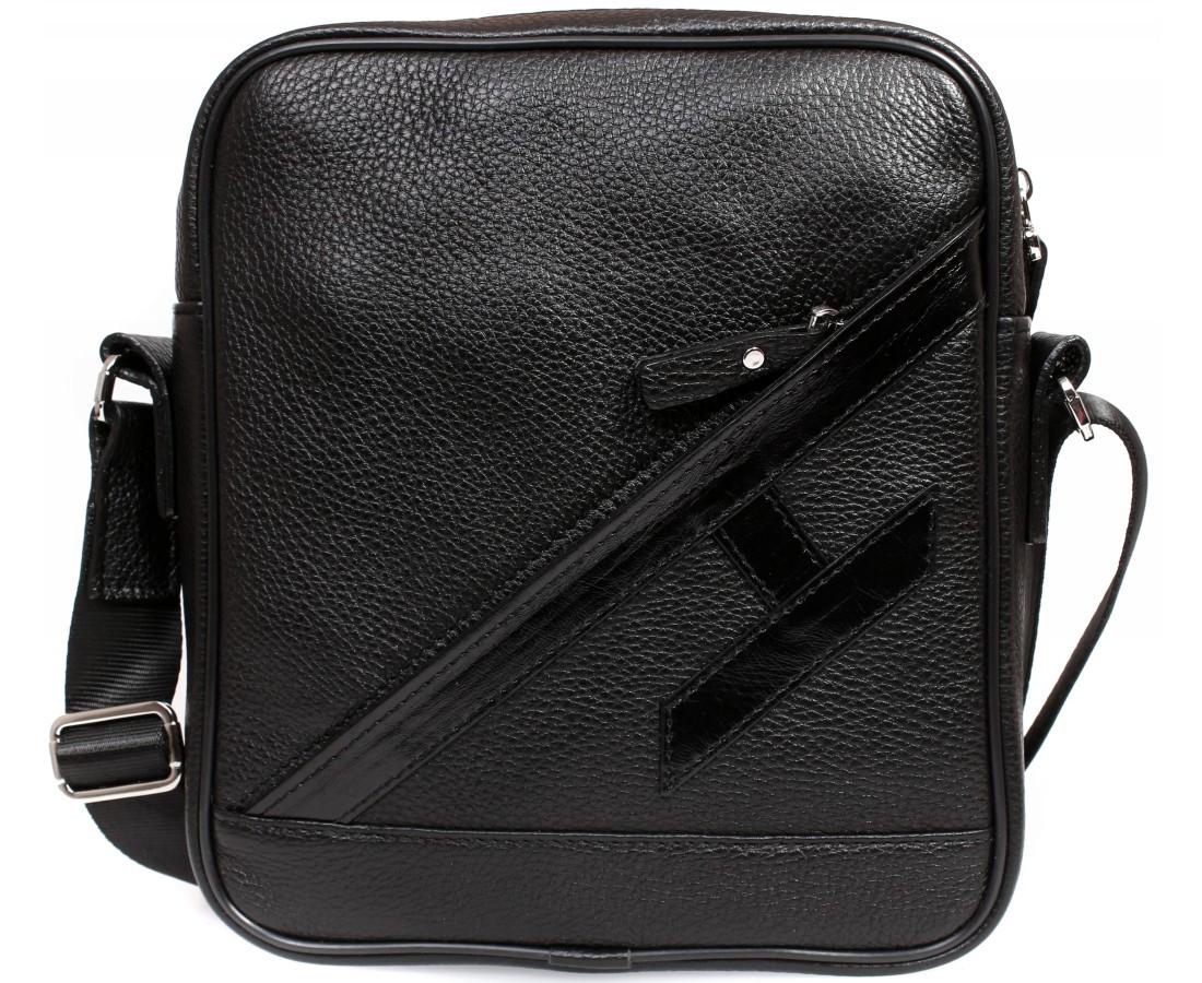 42c69a45b670 Оригинальная мужская кожаная сумка отличного качества черная ALVI av-4