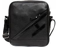Оригинальная мужская кожаная сумка отличного качества черная ALVI av-4-5225