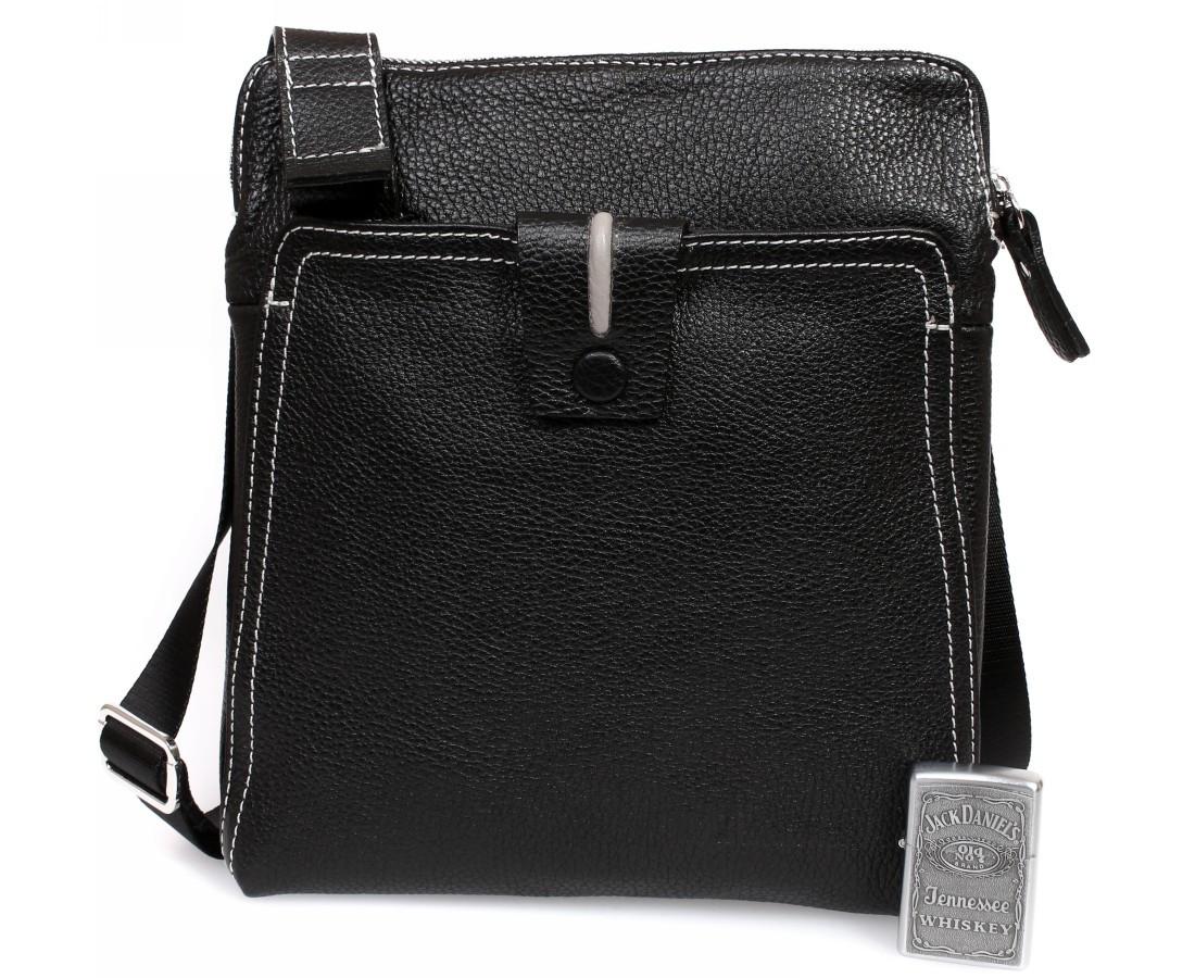 ed6f7236dcbe Повседневная мужская кожаная сумка с белой строчкой черная ALVI av-2-2