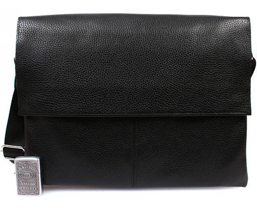 c371f6b4942e Горизонтальная мужская кожаная сумка формата А4 черная ALVI av-102black,  фото 2
