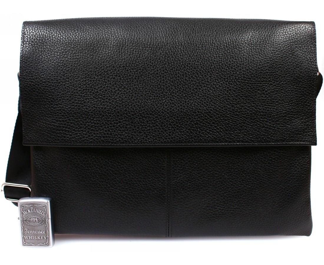 Горизонтальная мужская кожаная сумка формата А4 черная ALVI av-102blac