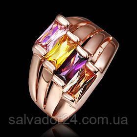 Женское кольцо 18К позолота, фианиты  18 размер
