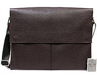 Горизонтальная мужская кожаная сумка формата А4 коричневая ALVI av-102brown