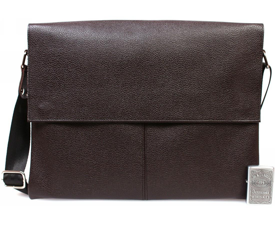 Горизонтальная мужская кожаная сумка формата А4 коричневая ALVI av-102