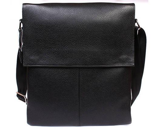 1b70b5de79d9 Вертикальная мужская кожаная сумка формата А4 черная ALVI av-94black, фото 2