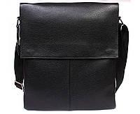 Вертикальная мужская кожаная сумка формата А4 черная ALVI av-94black
