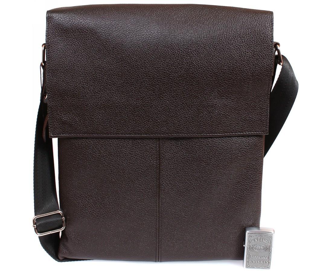Вертикальная мужская кожаная сумка формата А4 коричневая ALVI av-94bro