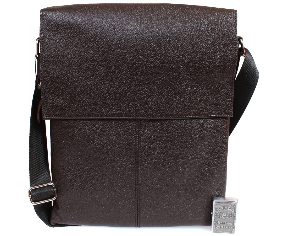 114dff9fc63f Вертикальная мужская кожаная сумка формата А4 коричневая ALVI av-94brown