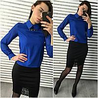 Стильная женская блуза с украшением и черная юбка, цвета