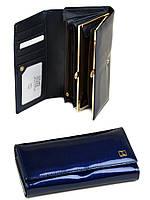 Большой кожаный кошелек Bretton. Лаковые кошельки женские. Пять цветов. Синий