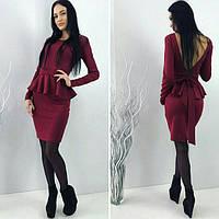 Женское платье с баской Вишня