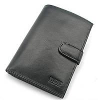 Кошелек мужской кожаный черный Bond 509 Турция, фото 1