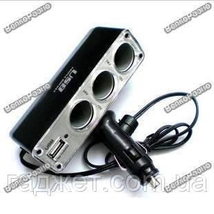 Удлинитель-тройник для прикуривателя авто с USB. Уценка., фото 2