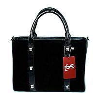 Модельная замшевая сумка небольшая каркасная