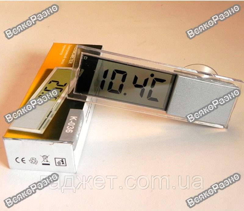 Прозрачный цифровой ЖК термометр на лобовое стекло